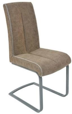 Chocolate Brown White Stitched Faux Leather Dining Chair Set of Two