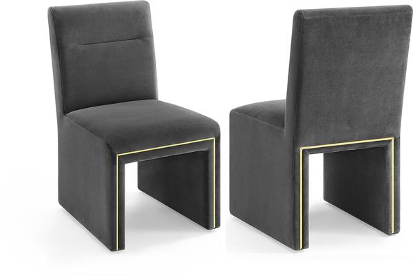 Marlow Velvet Dining Chair Dark Grey or Green