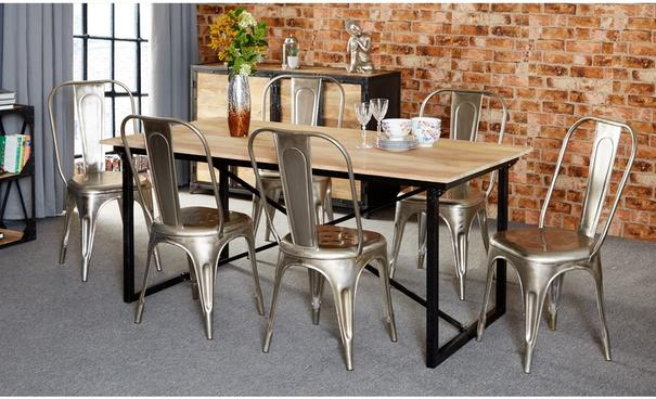 Cosmo Industrial Silver Metal Chair (set of 2) image 2