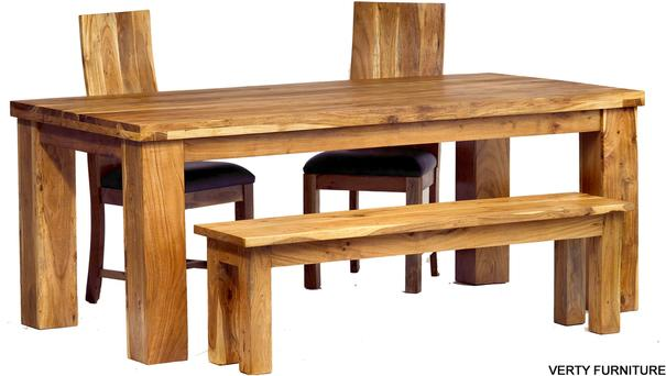 Acacia Dining Table - Large with Bench and 4 Chairs