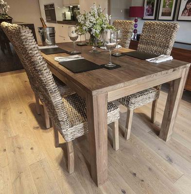 The 'Tutuk' 160cm Reclaimed Dining Table and 4 Banana Leaf Chairs image 2