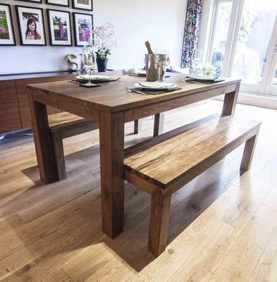 Karang reclaimed wood dining table and benches image 2