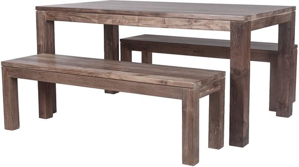 Karang reclaimed wood dining table and benches image 3