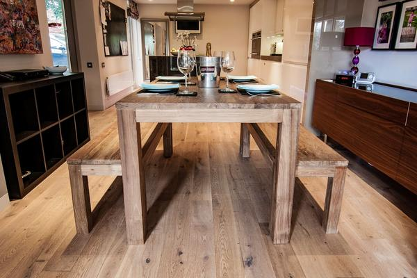 Karang reclaimed wood dining table and benches