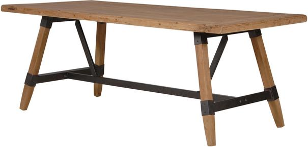 Industrial Wood and Metal Crosspiece Dining Table
