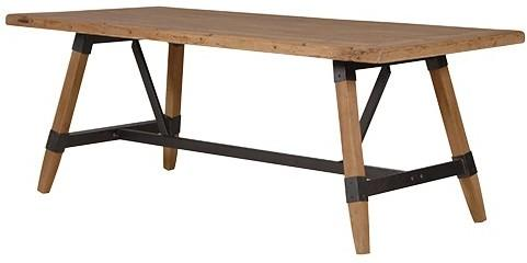 Industrial Wood and Metal Crosspiece Dining Table image 2