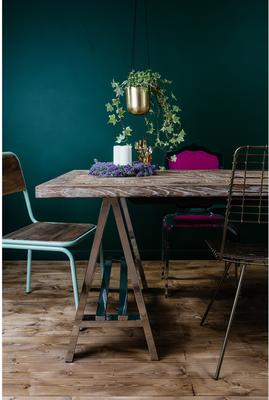 Metal and Recycled Elm Dining Table