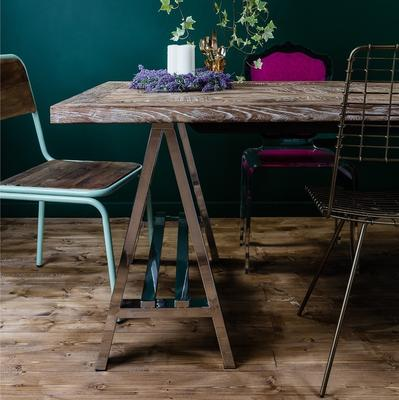 Metal and Recycled Elm Dining Table image 5