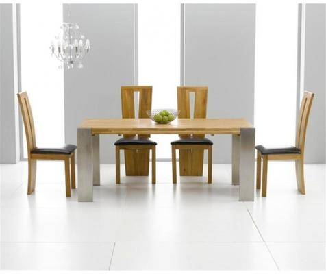 Cancun oak extending dining table image 5