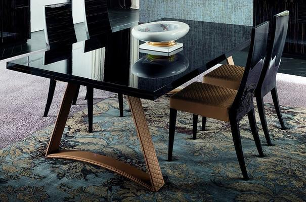 Nightfly dining table and square chairs