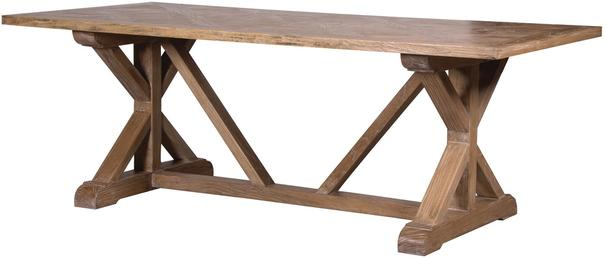 Elm Dining Table with Parquet Top Rustic Finish