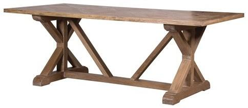 Elm Dining Table with Parquet Top Rustic Finish image 2