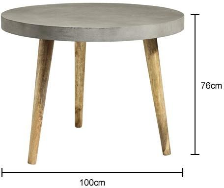Three Leg Concrete Industrial Dining Table image 2