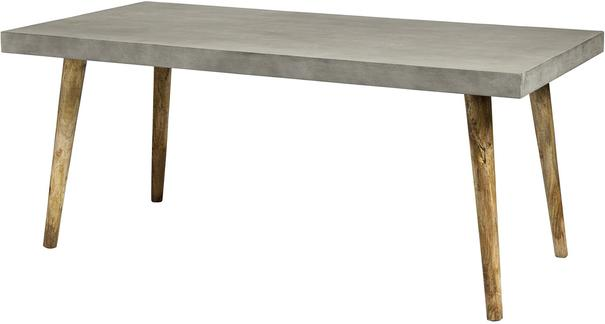 Concrete Top Rectangular Table with Wooden Legs