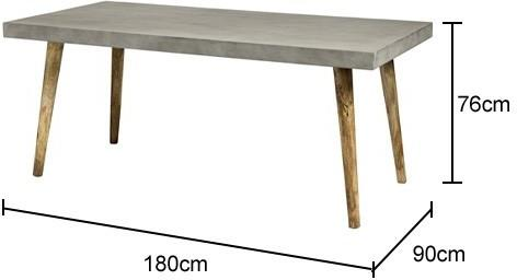 Concrete Top Rectangular Table with Wooden Legs image 2
