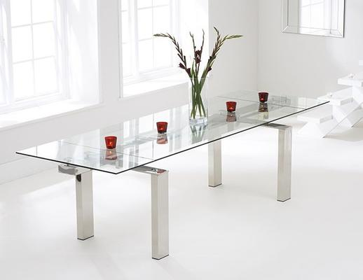 Lunetto glass extending dining table
