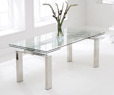 Lunetto glass extending dining table image 4