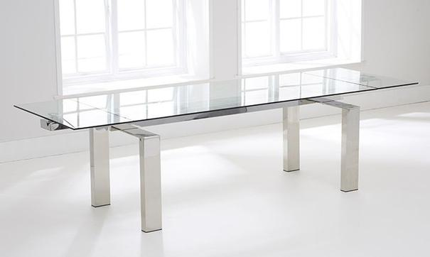Lunetto glass extending dining table image 5