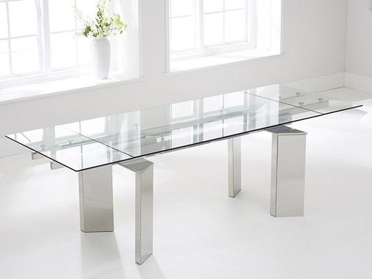 Millicent glass extending dining table image 2