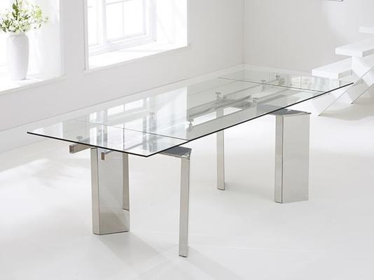 Millicent glass extending dining table image 3