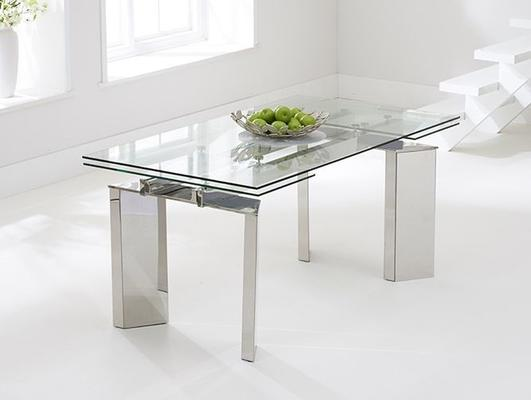 Millicent glass extending dining table image 4