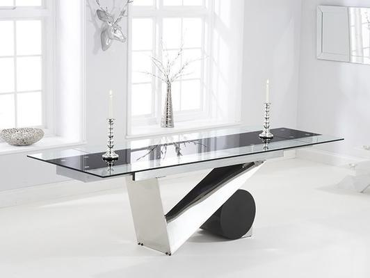 Peru glass extending dining table