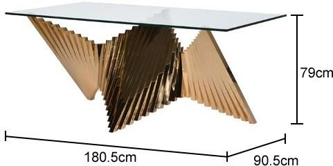 Contemporary Brass Steel Fan Dining Table image 2