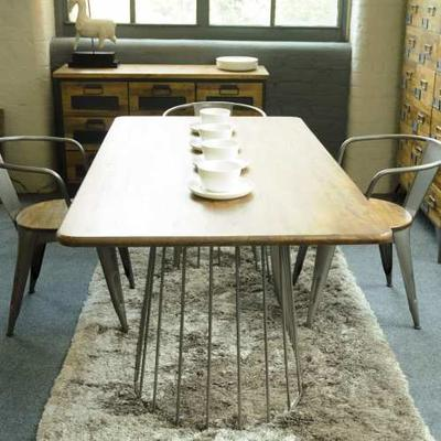 Birdcage Rectangular Dining Table Vintage Style