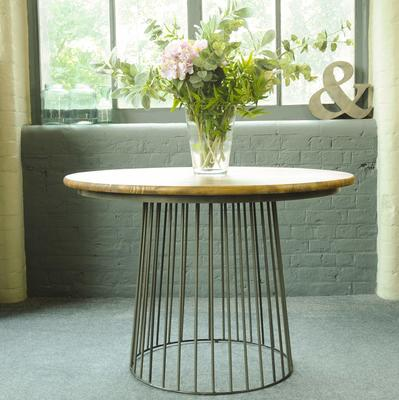 Birdcage Bistro Dining Table Vintage Mango Wood and Steel