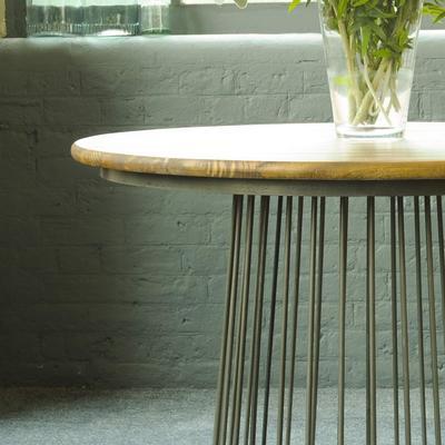 Birdcage Bistro Dining Table Vintage Mango Wood and Steel image 2