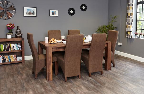 Shiro Walnut Dining Table Rustic image 3