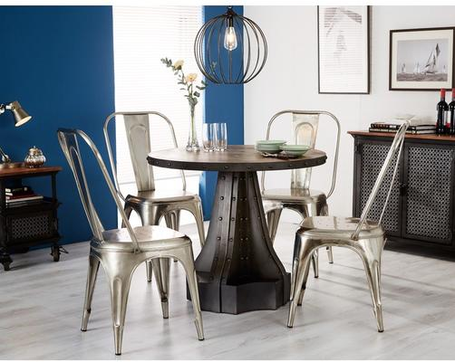 Evoke Round Dining Table Reclaimed Metal and Wood