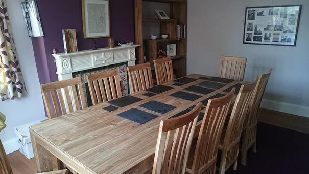 Mangkung 240cm Reclaimed Teak Dining Table with 10 Wooden Chairs image 5