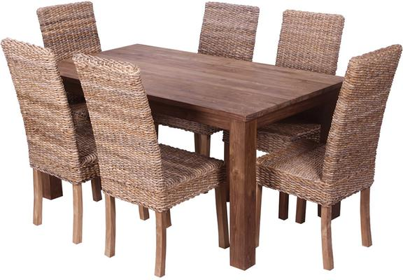 'Pancor' 180cm Reclaimed Wood Dining Table and 6 Banana Leaf Chair Set image 2