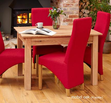 Mobel Solid Oak Modern Dining Table - 4 Seater