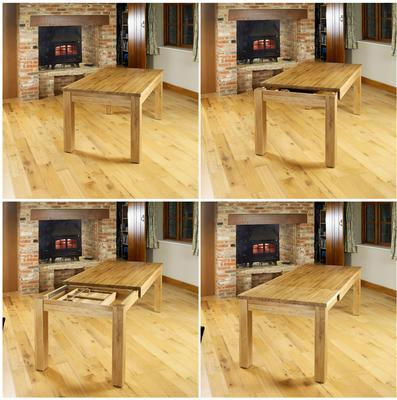 Mobel Extending Solid Oak Dining Table - Seats 4-8 image 5