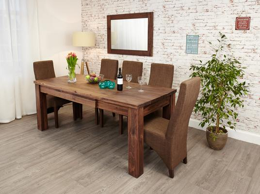 Mayan Walnut Extending Dining Table Rustic Style