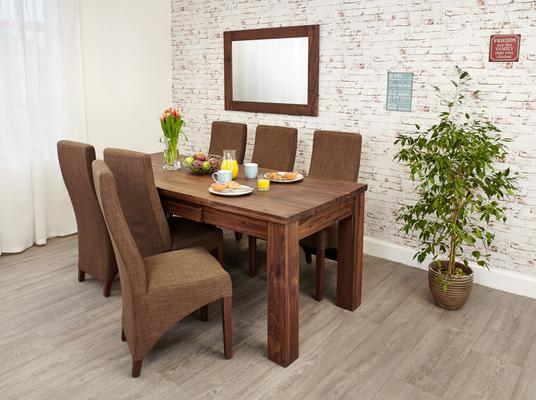 Mayan Walnut Extending Dining Table Rustic Style image 2