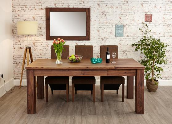 Mayan Walnut Extending Dining Table Rustic Style image 3