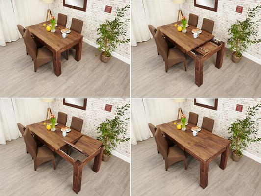 Mayan Walnut Extending Dining Table Rustic Style image 4