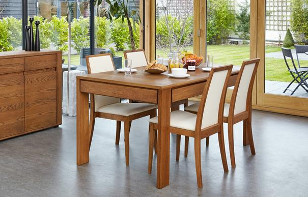 OLTEN Oiled Oak Modern Extending Dining Table with Drawer