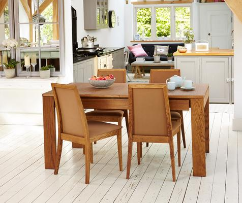 OLTEN Oiled Oak Modern Extending Dining Table with Drawer image 2