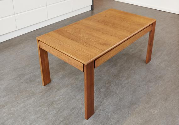 OLTEN Oiled Oak Modern Extending Dining Table with Drawer image 3