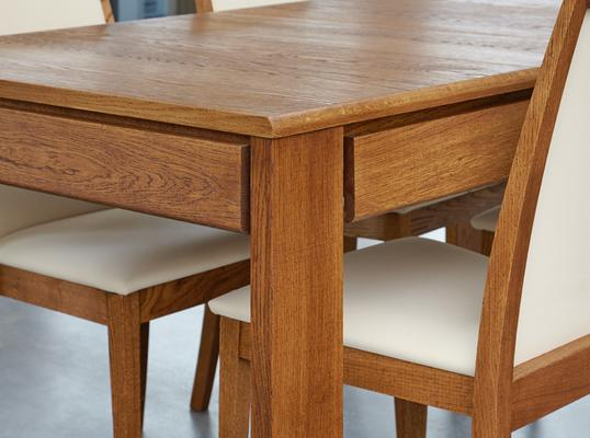 OLTEN Oiled Oak Modern Extending Dining Table with Drawer image 5