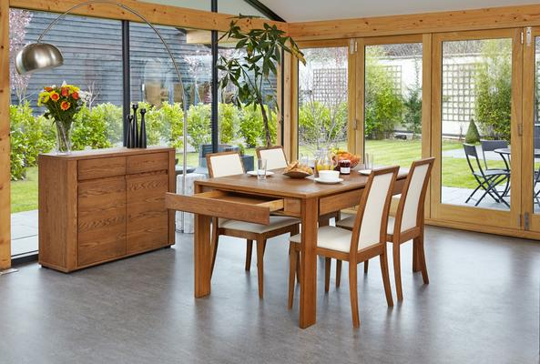 OLTEN Oiled Oak Modern Extending Dining Table with Drawer image 6