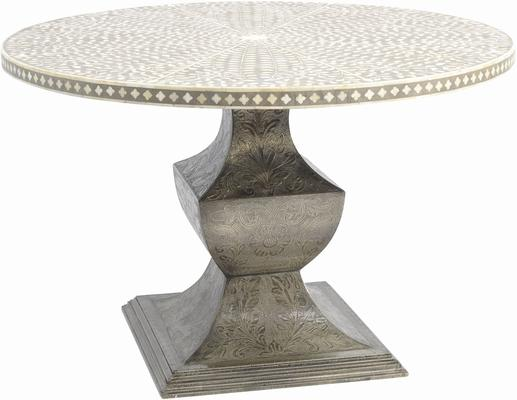 Petals Grey Bone Inlay Dining Table on Metal Base