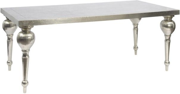 Astor White Metal Hand Embossed Dining Table
