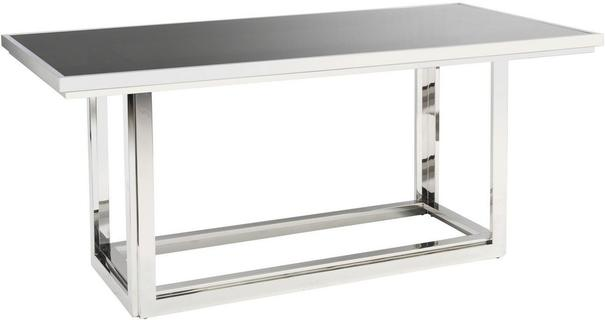 Gatsby Rectangular Dining Table Stainless Steel Frame Smoked Glass Top