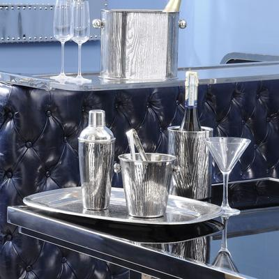 Gatsby Rectangular Dining Table Stainless Steel Frame Smoked Glass Top image 2