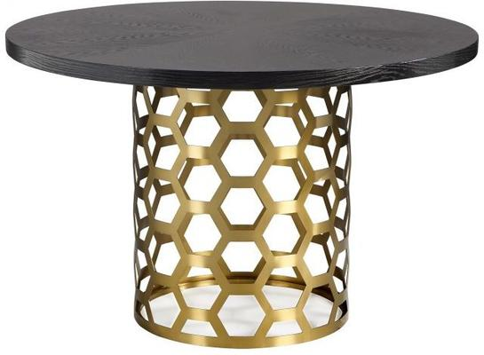 Portofina Round Dining Table Wenge Top Brass Base